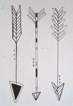 Mixed Media work by Katey Kalanges  www.kateyk.com  www.facebook.com/kateykpaintandclay    Three Little Arrows  Watercolor & Illustration Pen