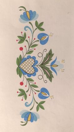 This Pin was discovered by Müg Polish Embroidery, Hungarian Embroidery, Crewel Embroidery, Hand Embroidery Patterns, Machine Embroidery, Embroidery Designs, Tole Painting, Fabric Painting, Bordado Popular