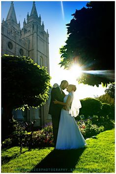 SLC Utah lds temple wedding with sunflare by emily heizer