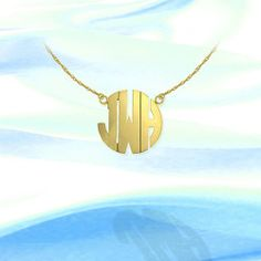 Today Buy - Monogram Necklace - .75 inch 24K Gold Plated Sterling Silver Handcrafted Personalized Monogram - Initial Necklace - Made in USA