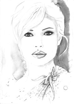 Original Watercolor Fashion Illustration Modern Art Black and White Painting titled Charm