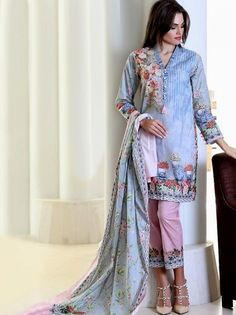 cb5967cfe84c Pareesa by Chen one  LawnCollection stitched 3 Piece Suit in Grey 3 Piece  Suits