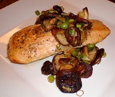 pan roated salmon with mushrooms