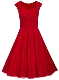 Trendy Eudolah Damen Elegant Tanzen 50er Party Kleid Cocktailkleid Rockabilly Audrey Hepburn Polka Dots - kleidamore