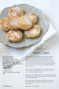 Pice ar y maen, (Welsh cakes), a Welsh teatime treat passed on through generations and still as popular as ever - recipe looks easy (just need amounts in American measures). Welsh Cakes Recipe, Welsh Recipes, Scones, Naan, Cookie Recipes, Dessert Recipes, Biscuits, Food Cakes, Tea Cakes