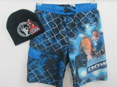 WWE World Wrestling Smack Down Board Shorts Swim Trunks John Cena Hat 10/12 Lg. #SwimShorts