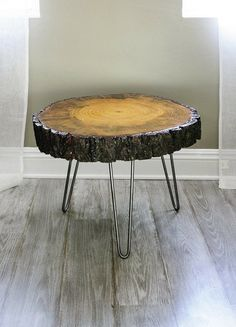 Tree Slice With Bark Coffee Table, or Side Table in Mid City, Los Angeles ~ Krrb Classifieds Tree Stump Table, Tree Table, Tree Slices, Wood Slices, Wood Slice Coffee Table, Coffee Tables, Kidney Table, Bois Diy, Into The Woods