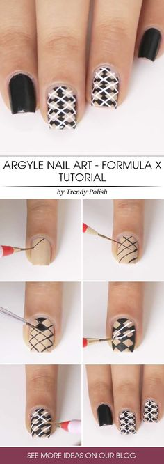 Argyle nail art - formula X. Are you searching for an argyle nails tutorial? Then you are lucky beca Great Nails, Simple Nails, Fun Nails, Argyle Nails, Manicure Y Pedicure, Halloween Nail Designs, Super Nails, Easy Nail Art, Nail Art Designs