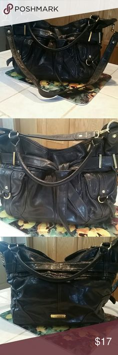 Steve Madden Crossbody Bag Large bag his black/grey pewter shiny color. Gold hardware. 100% P/U. Good condition with few wear marks on inside of crossbody strap and bottom. Top snap closure with two slip and one zip inside pocket. Steve Madden Bags Crossbody Bags