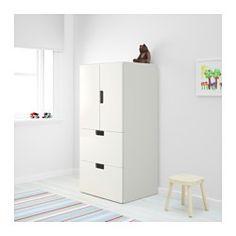 IKEA - STUVA, Opbergcombi met deuren/lades, wit/blauw, , In een lage opberger kunnen kinderen zelf hun spullen pakken en weer opruimen.Staat door de meegeleverde verstelbare doppen ook stabiel op ongelijke vloeren.Deuren met ingebouwde demper, gaan langzaam en zachtjes dicht.De deuren en de ladefronten hebben afgeronde hoeken en uitgesneden handgrepen met zachte randen.