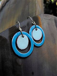 Blue Circles Torch Fired Enamel Earrings