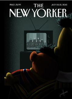 Does the New Yorker cover offend you? Editorial intern Tara-Michelle Ziniuk reacts to the controversy surrounding the New Yorker's cover featuring Sesame Street's Ernie and Bert as a couple. The New Yorker, New Yorker Covers, Capas New Yorker, Magazin Covers, Bert & Ernie, Homo, Plakat Design, Grafik Design, Supreme Court