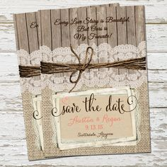 Rustic Burlap and Lace Save the Date  Wood by WallflowerEvents