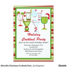 Adorable Christmas Cocktails Party Invitation Having a holiday party or just a small get together? This invitation is perfect! It has several adorable liquor glasses with cute Christmas symbols coming out of the glasses. There's a Santa hat on one, the legs of an elf coming out of a wine glass on another and candy canes. They are simply irresistible. Personalize with your party information on the bottom. It's trimmed in a green square with a festive red and green horizontal striped…