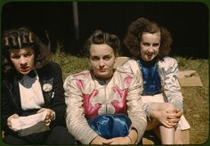"*Backstage at the ""girlie"" show at the state fair. Rutland, Vermont, September 1941. Reproduction from color slide. Photo by Jack Delano. Prints and Photographs Division, Library of Congress"