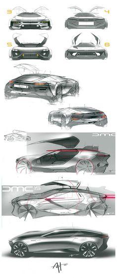 DeLorean Concept Design Sketches by Arthur Martins