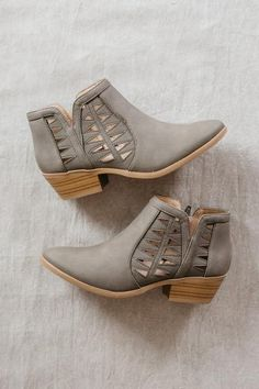 Take A Chance Booties olive suede booties side slit low stacked heel, block heel, cut out details, laser cut details, geometric details, light grey, greying olive, olive