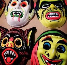 Who Remembers these cheap and cheerful masks for Halloween Mascaras Halloween, Halloween Masks, Creepy Halloween, 1980s Childhood, Childhood Days, Retro Toys, Vintage Toys, 1960s Toys, Vintage Campers