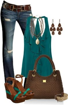 Teal & Brown Polyvore Clothes  Outift for • teens • movies • girls • women •. summer • fall • spring • winter • outfit ideas • dates • parties Polyvore :) Catalina Christiano