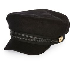 River Island Black wool captain's cap ($36) ❤ liked on Polyvore featuring accessories, hats, black, women, military cap, river island hat, military style hats, wool hat and military style cap