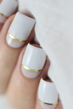 Nailstorming - TV Show - Empire inspired nail art - white & gold color block nails