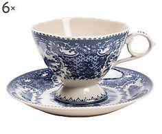 Set di 6 tazze da the in ceramica con piattino blu - 11x7x9 cm