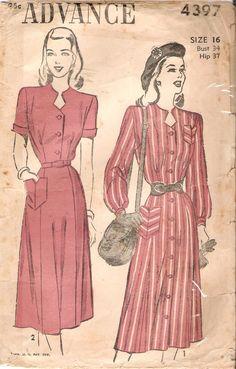 Advance su vintage 1940 4397 lungo o breve maniche vita-camicia o  Shirt-dress b896a847a7c