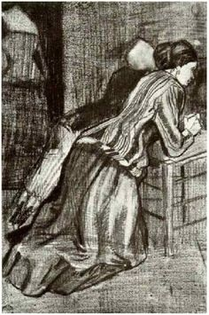 Vincent van Gogh Drawing, Pencil, black chalk The Hague: March, 1883 Kröller-Müller Museum Otterlo, The Netherlands, Europe F: 1058, JH: 348 Image Only - Van Gogh: Two Women, Kneeling