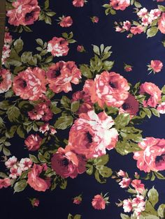 Winter Blush Pink Roses with Sage on Navy Background: Brushed Poly Fabric