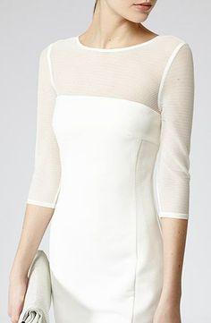 Womens Lux White Stripe Mesh Panel Dress