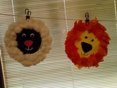 March crafts - In like a lion, out like a lamb Lamb is a paper plate painted black, cotton balls, felt nose and googly eyes Lion is a paper plate painted yellow, tissue paper, felt nose and googly eyes