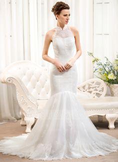 Trumpet/Mermaid High Neck Court Train Tulle Lace Wedding Dress (002054373) - JJsHouse