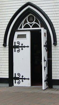 great design on black & white doors