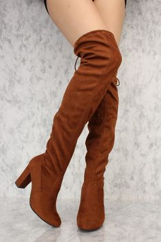 9618ede01a49 Cognac Round Pointy Toe Thigh High Single Sole Chunky Heel Boots Faux Suede  Thigh High Boots