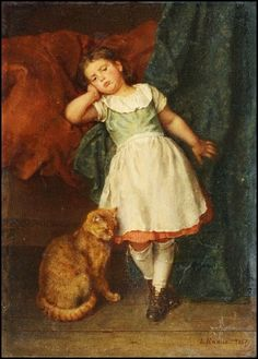"""Ludwig Knaus - """"Girl with Cat"""" date unknown 