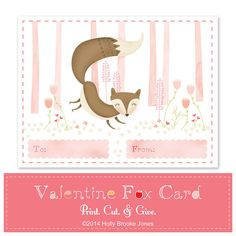 Fox Valentine Cards - Printable digital file - Instant Download