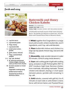 Buttermilk and honey chicken kabobs