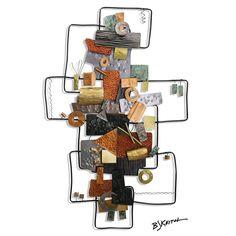 B J Keith Designer Metal Wall Art Consisting Of Circles Squares And Rectangles (BJW44179)
