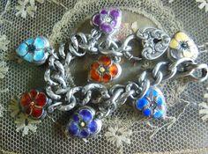 pansy sterling silver charm bracelet