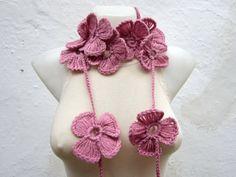 Hand crochet Lariat Scarf   Pink  Flower Lariat Scarf by nurlu, $20.00