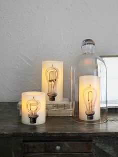 Flameless Candle Decals. Free filament bulb illustrations