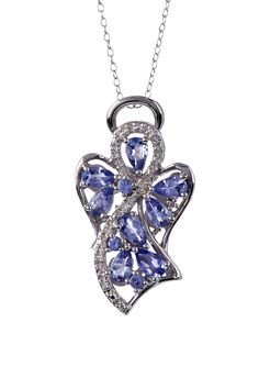 Tanzanite & White Diamond Angel Pendant Necklace on HauteLook