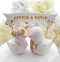 Wedding Cake Topper Love Birds Ivory and Gold Custom by LavaGifts