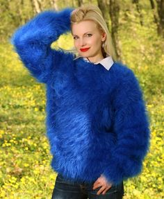 Blue hand knitted mohair sweater fuzzy crewneck handmade pullover by SUPERTANYA #SuperTanya #Crewneck