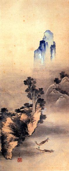 Painting by Gakyo Rojin Manji 画狂老人卍 a.k.a. Katsushika Hokusai, Rocky landscape with boats