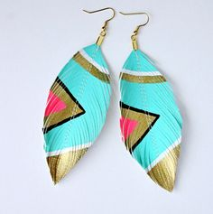 Mini Neon Aztec    Faux Leather Feather Earrings  3in    by lovesexton on etsy