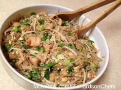 Homemade Chicken Pad Thai - Gluten Free and Delish! Find this recipe and more at www.facebook.com/RichardsonChefs