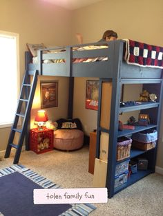 loft beds for kids diy kids loft bed loft family f. loft beds for kids diy kids loft bed loft family fun twin with storage child home interior decor items Loft Bunk Beds, Bunk Beds With Stairs, Kids Bunk Beds, Boys Bunk Bed Room Ideas, Loft Stairs, Kids Loft Bedrooms, Kids Beds Diy, Kids Rooms, Boys Bedroom Ideas 8 Year Old