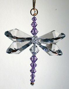 Clear And Violet Crystal Dragonfly Hanging Decoration Decor Jewelry