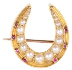 Victorian #horseshoe #brooches in #antique #gold #pearl #ruby and #oldeuropeancut #diamond #striking #antique #crescent very #detailed and #handcrafted all 3 #english and available at Turnerandtatler.com